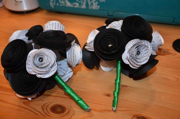 Paper flower bouquets for bridesmaids with green ribbon available for AJ's Craft Creations. https://www.facebook.com/ajs.craft.creations
