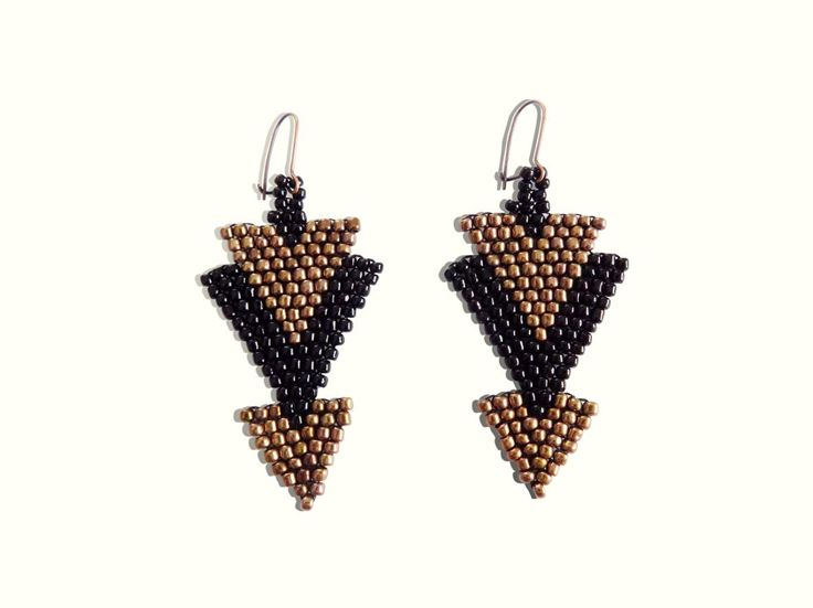 Bricks stitch earrings from beads about 2 mm each in shades of black and bronze.