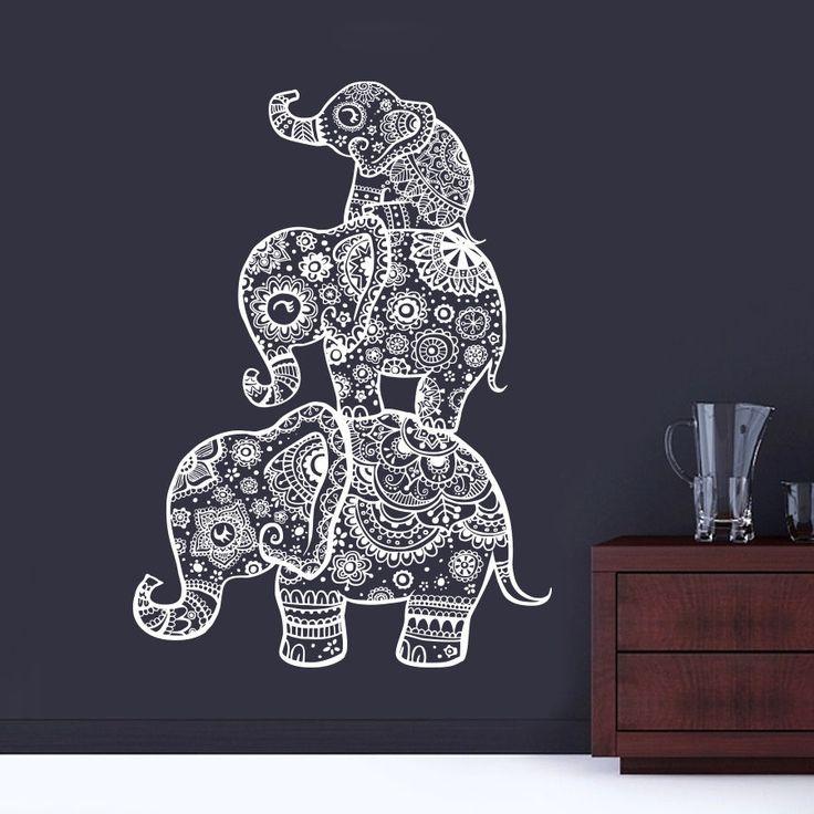 Three Elephant  Wall Decals India Mandala Buddha OM Vinyl Bedroom Wall Stickers Elaphant Mandala Symbol Mural CW-69