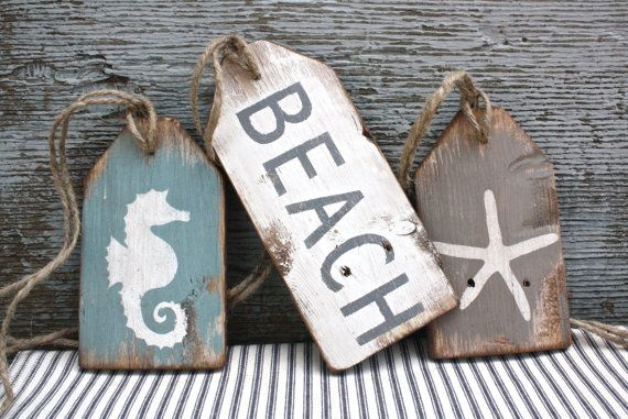 FREE SHIP Beach house Wood Tags Starfish seahorse mantle decor Rustic Distressed signs by TheUnpolishedBarn