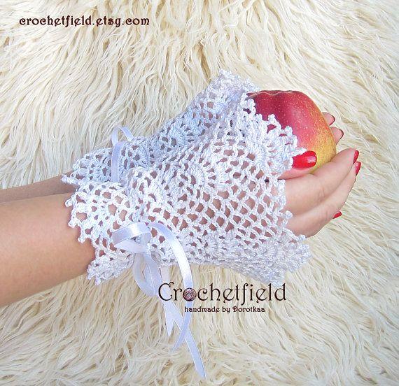 White Wrist Cuffs with satin ribbon Fingerless by Crochetfield