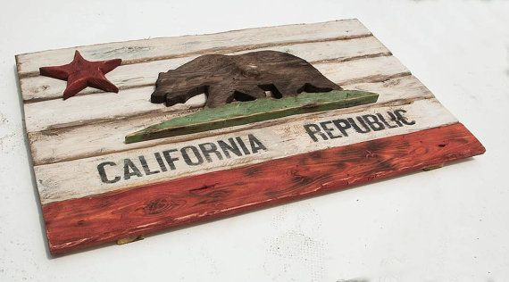 Weathered Wood One of a kind California Republic flag, Wooden, vintage, art, distressed, weathered, recycled, California flag art