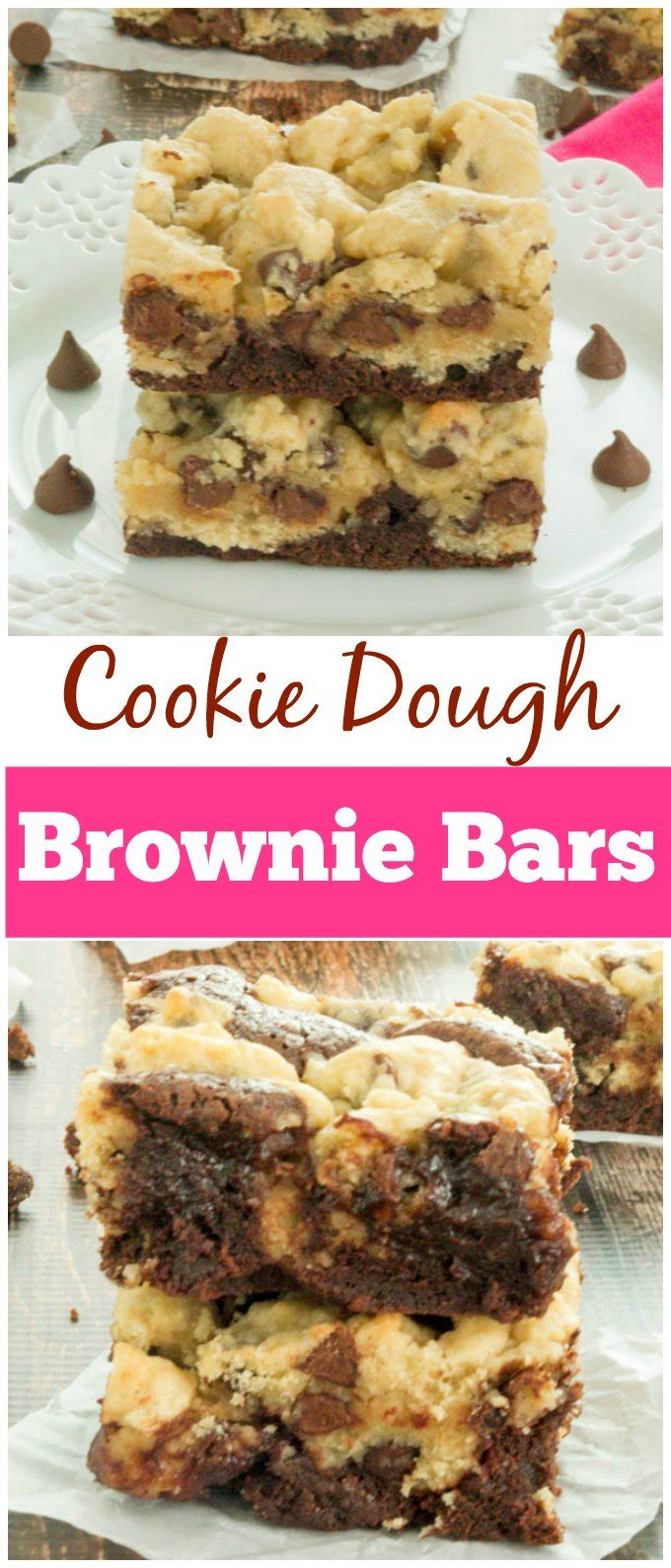 We made these and loved them so much that I went back and found it again so that I could pin it. -Heather Mouthwatering Cookie Dough Brownie Bars