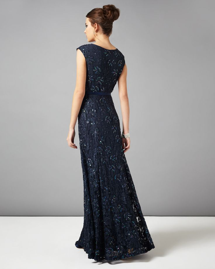 Phase Eight Murcia Lace Beaded Full Length Dress Blue