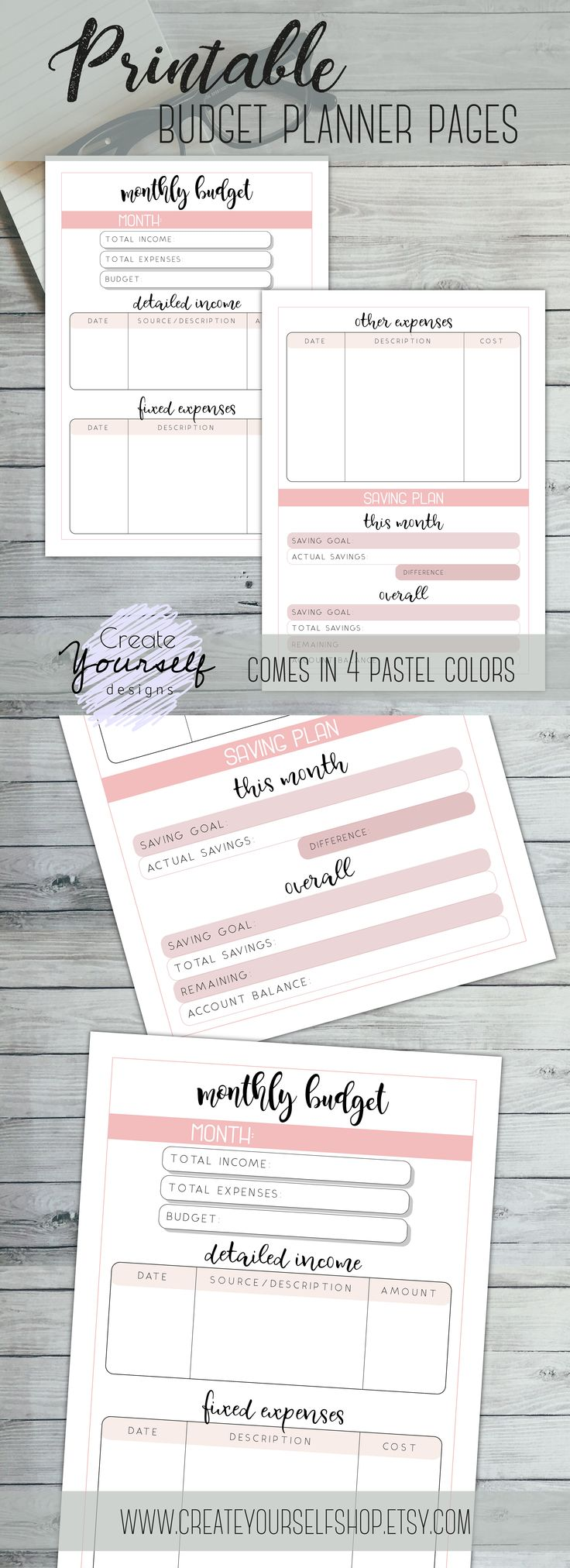 New monthly budget planner printable just got listed. Comes in 4 pastel colors and 3 sizes!