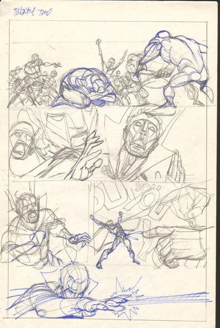 Gil Kane  - Defenders Giant Size #2 pg 22 layouts Comic Art