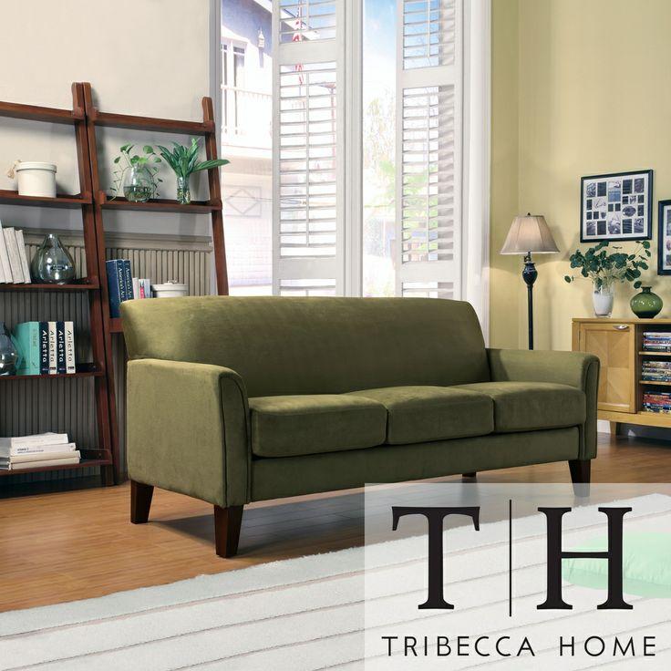 TRIBECCA HOME Uptown Sage Microfiber Suede Modern Sofa By Tribecca Home
