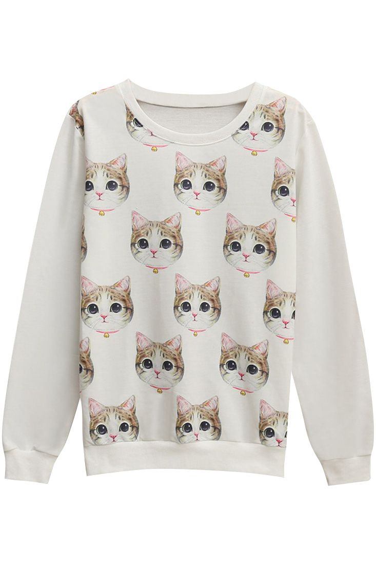 The sweatshirt is featuring cartoon cat pattern. Long sleeve. O neck. Loose fit.