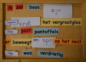 nieuwe zinnen maken met woorden uit de reeds besproken teksten