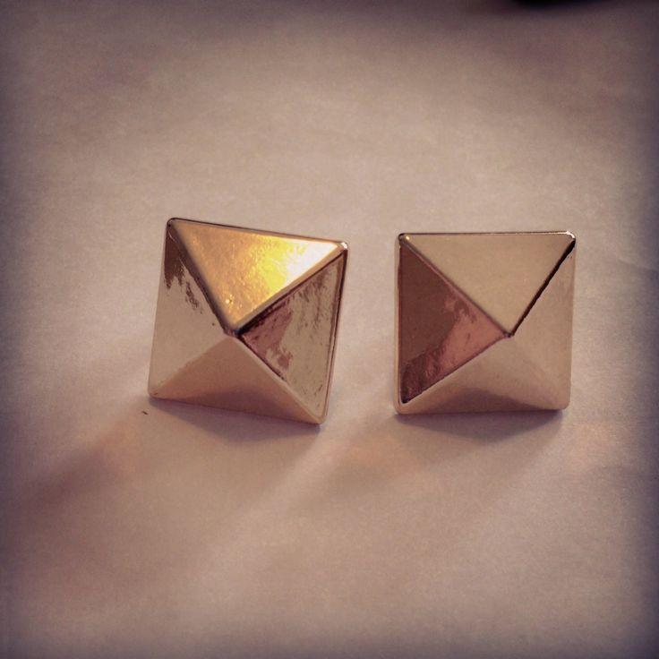 #Small Medium size light gold Studs 13mm x 13mm x 2 , #gold pyramid studs, #studs https://www.etsy.com/listing/197492448/small-medium-size-light-gold-studs-13mm?ref=listing-shop-header-2