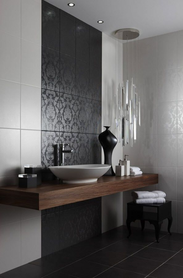 27 Black Damask Bathroom Tiles Ideas And Pictures Bathroom Tile Inspiration Tile Bathroom Modern Bathroom Tile
