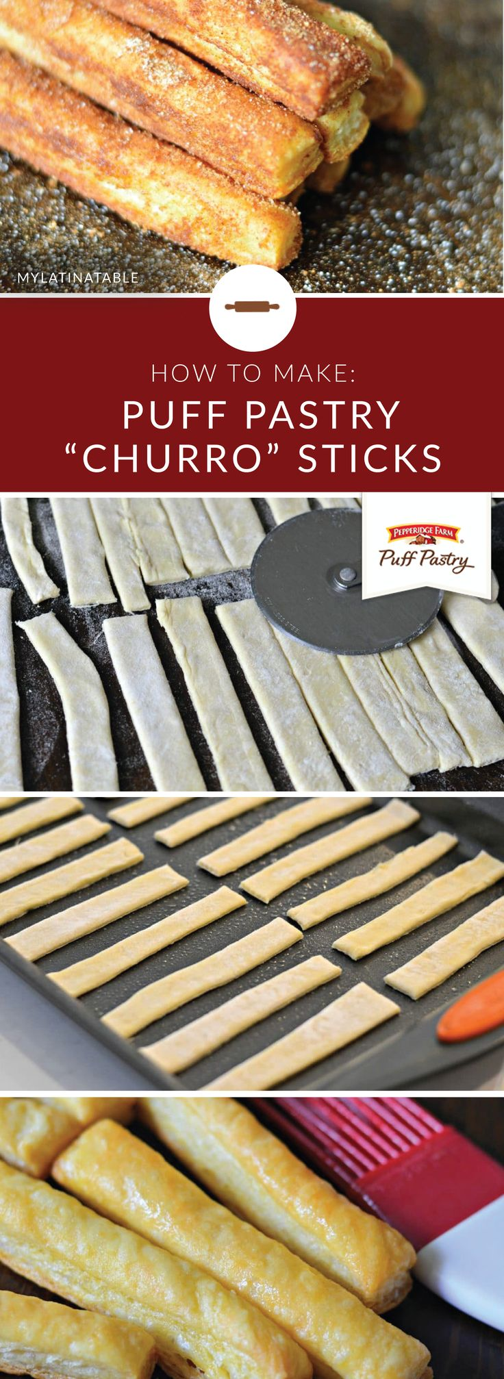 Looking for an easy dessert recipe that you can share with friends and family this holiday season? These Puff Pastry Churro Sticks from Charbel, of My Latina Table, make entertaining effortless. Simple dust Pepperidge Farm® Puff Pastry Sheets with cinnamon and sugar before serving.
