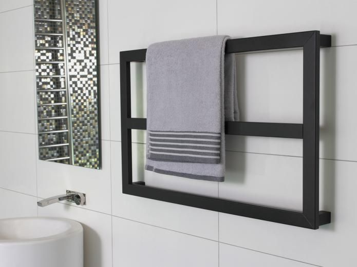 The Kado Quad Frame Mounted Heated Towel Rail in Matte Black is a unique square design rail available in 450, 650 and 850mm, finished in matte black to add a touch of luxury to your bathroom experience