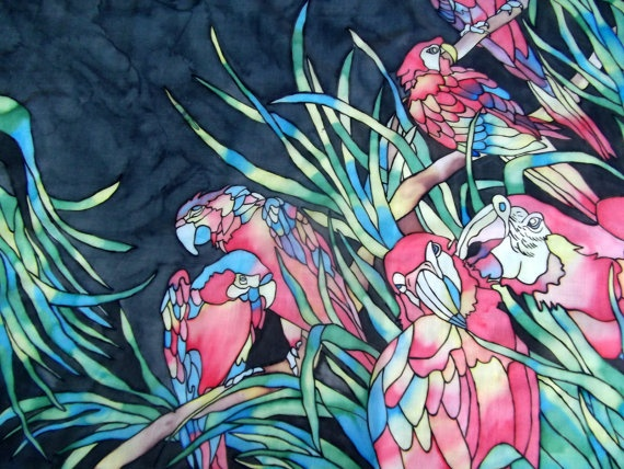Hand painted vintage scarf multicolored parrots by CHEZELVIRE, $14.00
