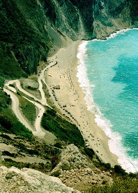 Myrtos, Kefalonia I have been here, absolutely gorgeous, but the water was just sooo cold!