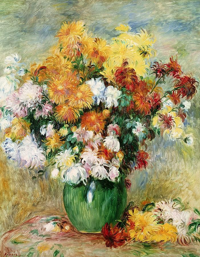 Pierre Auguste Renoir (1841-1919). Bouquet Of Chrysanthemums, 1884. Musee des Beaux-Arts, Rouen, France.: