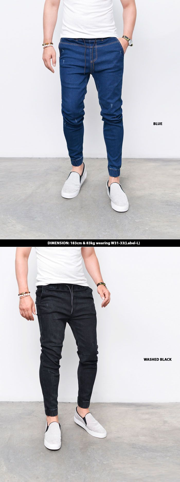 Bottoms :: Slim Semi Baggy Denim Jogger-Jeans 245 - Mens Fashion Clothing For An Attractive Guy Look