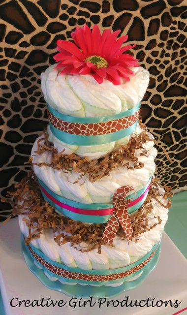 Diaper cake at a Baby Shower #babyshower #diapercake