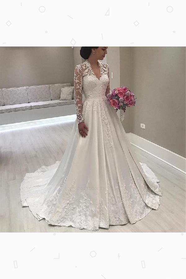 eea9f63dbfaf Wedding Dresses V-neck, 2019 Wedding Dresses, Wedding Dresses Vintage, Lace Wedding  Dresses, Wedding Dress #Wedding #Dresses #Vneck #2019 #Vintage #Dress ...