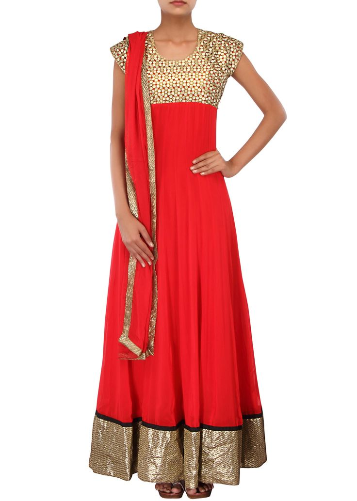 Red anarkali suit adorn in zari cut work embroidery only on Kalki