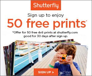 Get 50 4×6 prints for FREE from Shutterfly when you sign up for their ThisLife photo and video storage service. You'll just have to pay shipping. This offer is valid through September 23, 2014.