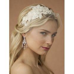 Wedding Headband with Ivory European Lace & Veil