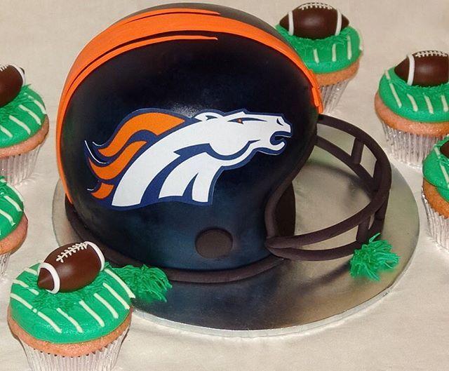 Denver Broncos Helmet Cake