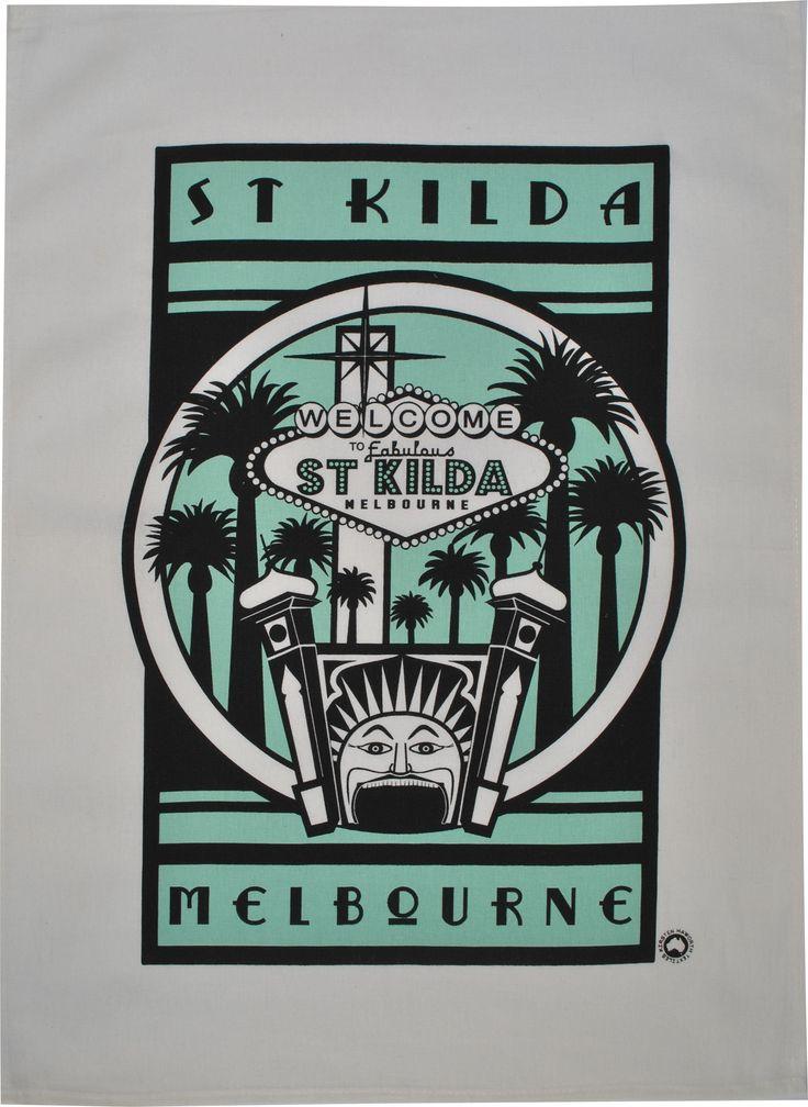 Retro St Kilda luna park tea towel in turquoise #melbourne #australia