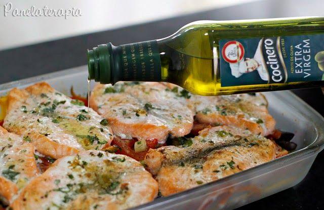 Salmão Assado com Vegetais e Azeite Extra Virgem