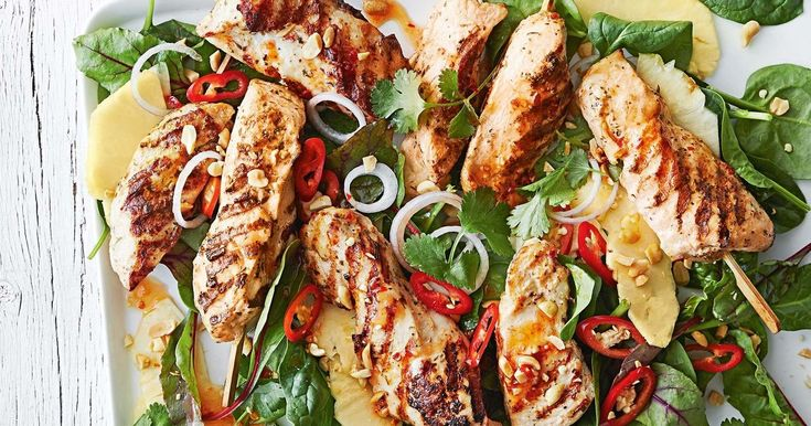 Juicy pineapple pieces add a touch of sweetness to these chargrilled chicken skewers.
