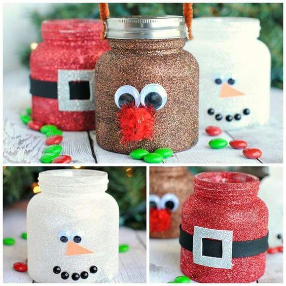 Baby food jars reindeer, santa, snowman. Directions and idea on iheartnaptime: