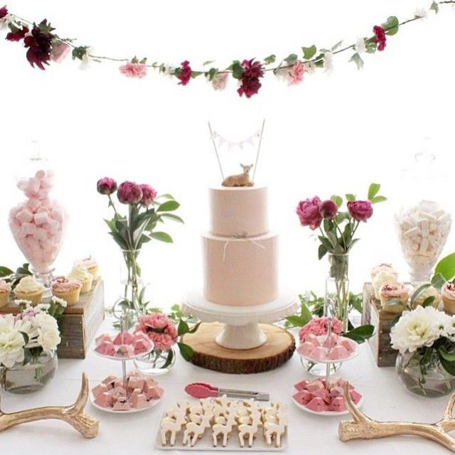Floral decoration on this Sweet Dessert Table are absolutely beautiful.