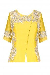 Lime Yellow Rose Motifs Jacket and Lehenga Skirt Set  #Limeyellow #summershades…