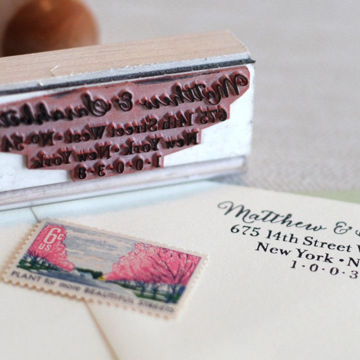 how to return address wedding envelopes%0A Calligraphy Address Stamp