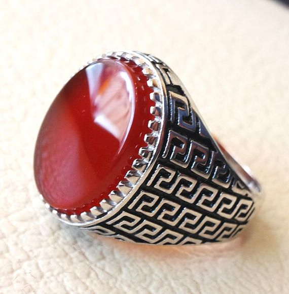 man ring sterling silver 925 aqeeq natural flat agate