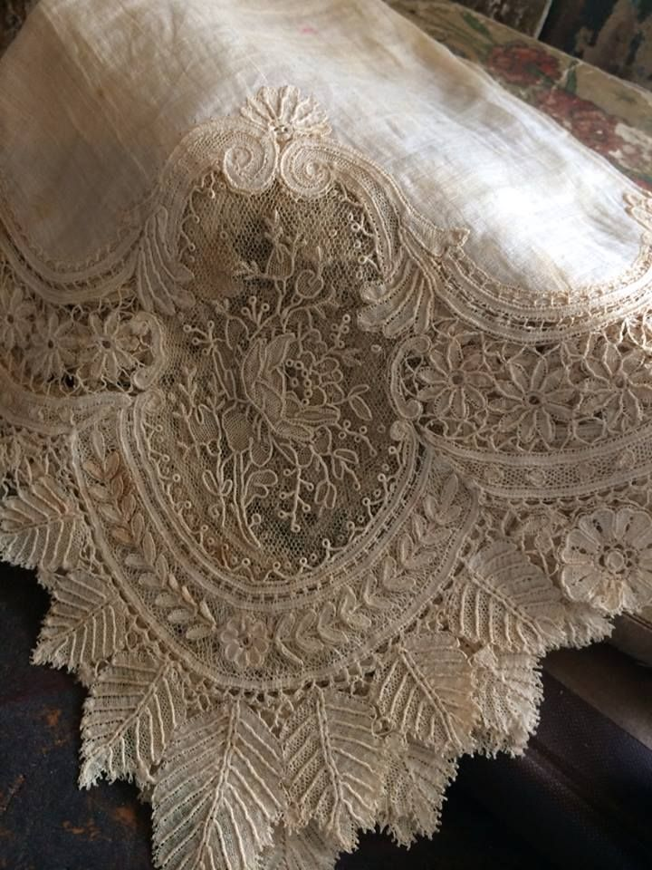 This handkerchief is absolutely beautiful and per the note that was in with it, it was first carried in a wedding on April 18, 1882 and then it was carried again in a wedding on July 19, 1942.