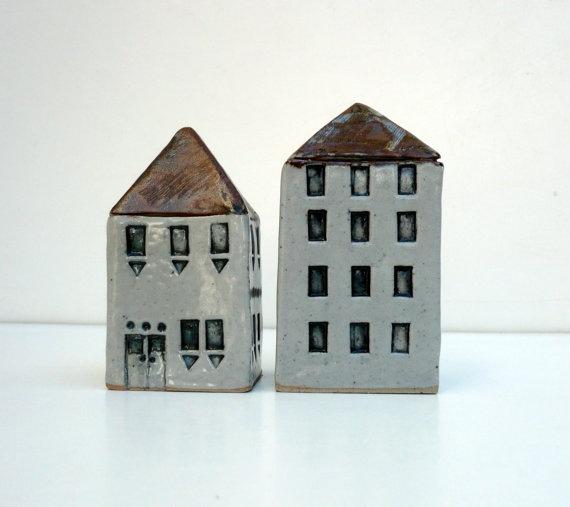 Minimalist Miniature House. Ceramic House. Industrial Building.. $59.75, via Etsy.