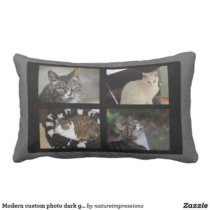 Modern custom photo dark gray burlap family lumbar pillow