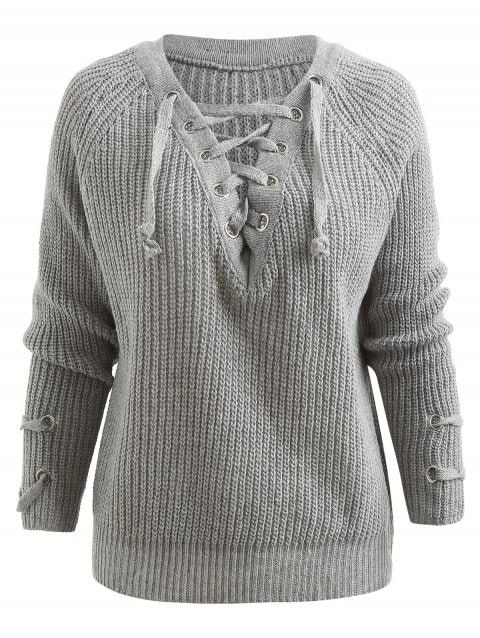 Lace Up Raglan Sleeve Chunky Sweater - GRAY ONE SIZE 8afb951c7