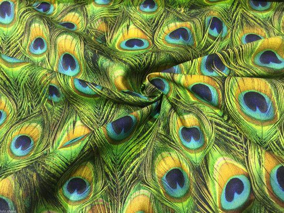 PEACOCK DIGITAL Print Vorhang Baumwolle Stoff von shop4cotton