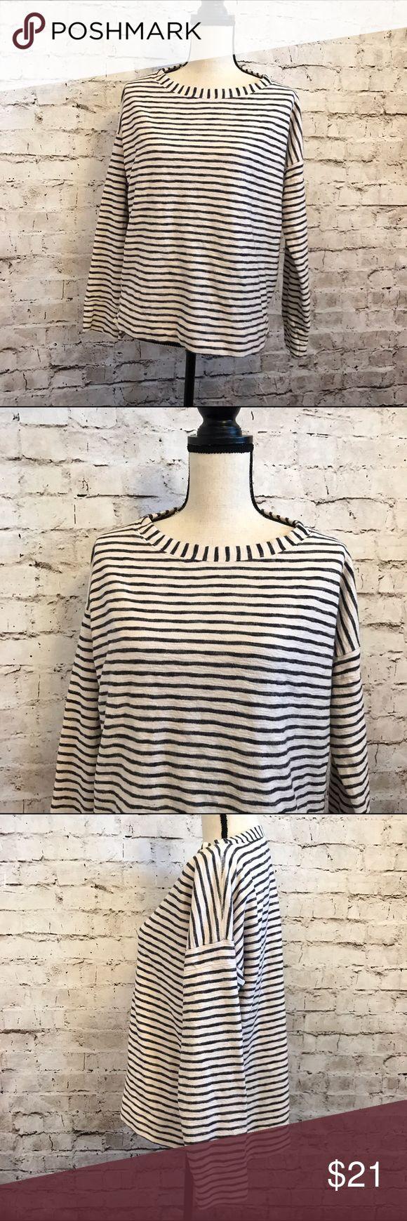 "Madewell Sweatshirt Navy Blue Cream Stripe Medium Gently worn great versatile top. No real signs of wear. Medium. 100% cotton. Crew neck. Approx measurements: bust-44"" length-front 22"" back 24"" Madewell Tops Sweatshirts & Hoodies"