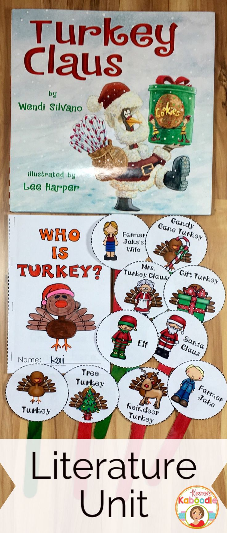 Turkey Claus by Wendi Silvano is a sweet picture book about the shenanigans of a silly turkey at Christmas time. This literature unit is full of fun activities including retelling sticks, a mini-book, and many language arts activities that are common core aligned for kindergarten, 1st, and 2nd grade. Student approved and teacher friendly, you are sure to fall in love with this unit!