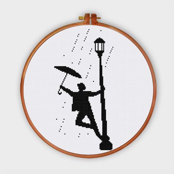 Singin' in the rain cross stitch pattern Modern by ThuHaDesign