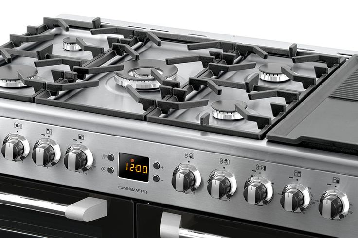 Leisure Cuisinemaster Dual Fuel range cooker hob close up stainless steel  CS100F520X 100cm