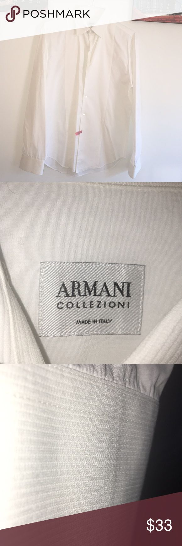 Men's Armani shirt( collezioni). Made in Italy. Lovely men's Armani colliezioni shirt. Made in Italy. Tuxedo style. Note pics. White with tuxedo look down front / sleeves, collar . Sleeves require cuff links. And three buttons are attached at bottom, bc first three are not there. This was worn once and just had it dry cleaned.. prestige condition Armani Collezioni Shirts Dress Shirts
