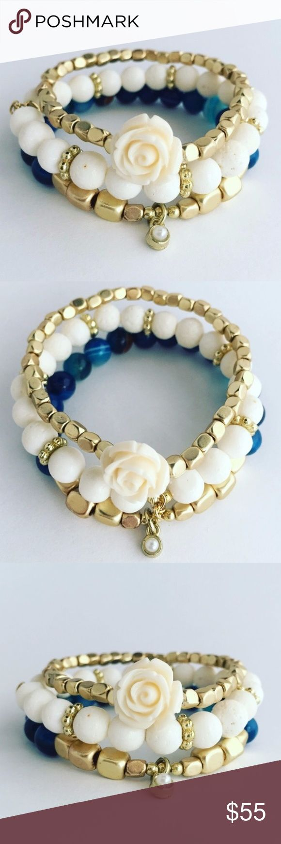 Set of 3 Adjustable Rose and Agate Bracelets Gorgeous.  Blue agate, with blue glass beads.  Ivory and gold beads and featured with a stunning ivory rose.  3 bracelets for one low price.  These are going to be gone quickly, don't wait - get yours today... Jewelry Bracelets