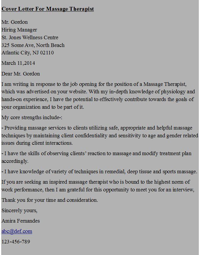 Cover letter massage therapist