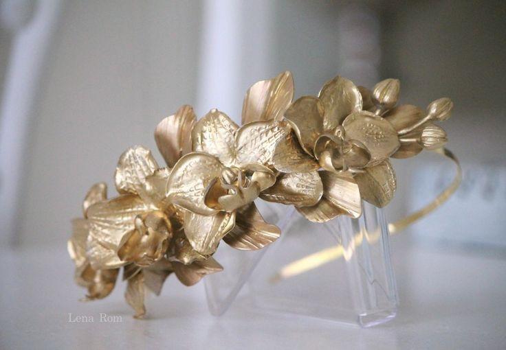 golden orchids headband / tocado de orquideas | Lena Rom