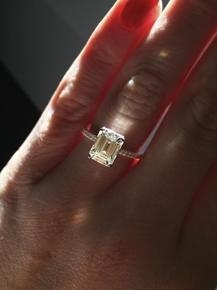 My engagement ring! 2.5 carat Emerald Cut, made by Rosados Box