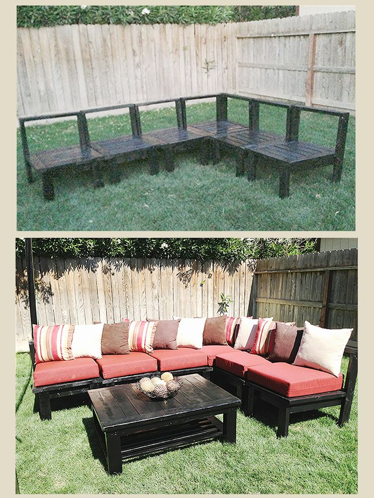 DIY Patio Furniture! Sectional sofa set out of 2x4s Plans can be found on Ana White Website 3 Day Project